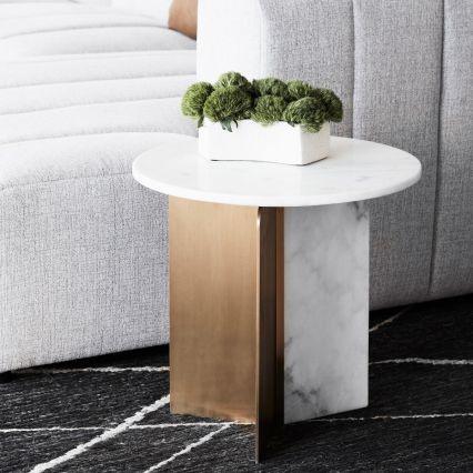 Como Marble and Brass Side Table