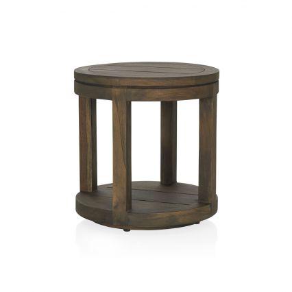 Como Outdoor Round Side Table - old grey