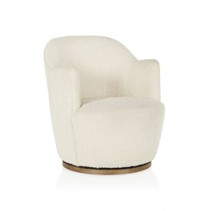 Milou Swivel Chair with Timber Base
