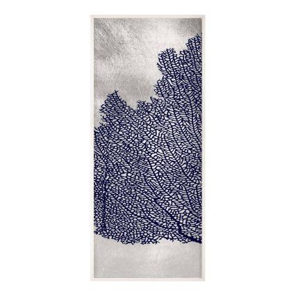 Seafan Triptych, Navy & silver Wall Art 1